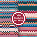 Set of bright zigzag patterns . Royalty Free Stock Photo