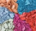 Set of broken multicolor eye shadow Royalty Free Stock Photo