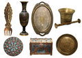 Set of bronze antique items Royalty Free Stock Photo