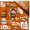 Set of brown discount tickets, labels and stamps Stock Photos
