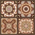 Set of brown romantic patterns vector illustration for sweet chocolate design floral ornament wave and dot shapes texture can be Stock Images