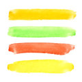 Set of brush strokes colorful watercolor Stock Image