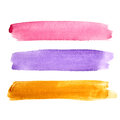 Set of brush strokes colorful watercolor Royalty Free Stock Photography