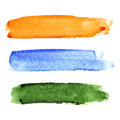 Set of brush strokes colorful watercolor Stock Images