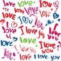 Set of brush strokes and scribbles in heart shapes words love i love you sketch elements for valentines day design Royalty Free Stock Photography