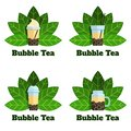 Set of bubble tea badges Vector flat labels