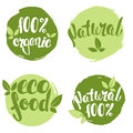 Set of bubbles, stickers, labels, tags with text. 100% natural, 100% organic, eco food. Royalty Free Stock Photo