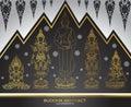 Set of buddha thai tradition abstract