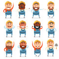 Set of builder flat icons