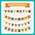 Set of bunting and garland in retro colors vector illustration Royalty Free Stock Photography