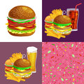 Set of burger grilled beef and fresh vegetables dressed with sauce bun snack american hamburger fastfood barbecue meat