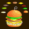 Set of burger grilled beef vegetables dressed with sauce bun snack, hamburger fast food meal menu barbecue meat with
