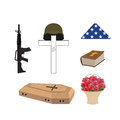 Set for burial of the soldier military funerals helmet on cros cross bible and coffin machine gun and american flag accessories Stock Photo