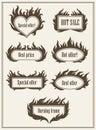 Set of burning fire frame borders hot sale and best offer symbols vector illustration. Eps10