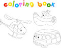 Set of bus, ship and helicopter. Coloring book for children Royalty Free Stock Photo