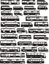 Set of  bus silhouettes Stock Images