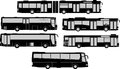 Set of bus silhouettes vector pack various Stock Photography