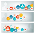Set of business banners with colorful icons vector Royalty Free Stock Photography
