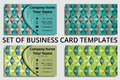 Set of business card templates with abstract design in green, teal, and gray shades Royalty Free Stock Photo