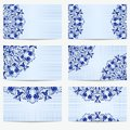 Set of business cards with beautiful pattern in the style of Chinese porcelain painting. Royalty Free Stock Photo