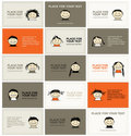 Set of business cards with faces for your design Royalty Free Stock Photos