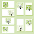 Set of business cards, floral trees Stock Photos