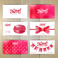 Set of business cards with sweets or desserts Royalty Free Stock Photos