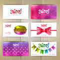 Set of business cards with sweets or desserts.