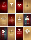 Set of business cards on theme of food and drink