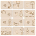 Set of Business Cards - Vintage Elements Stock Images