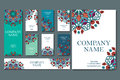 Set of business cards. Vintage pattern in retro style with mandala. Hand drawn Islam, Arabic, Indian, lace pattern Royalty Free Stock Photo