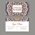 Set of business cards. Vintage pattern in retro style with mandala. Hand drawn Islam, Arabic, Indian, lace pattern