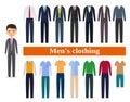 Set business clothes for men. Vector illustration.