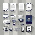 Set business company stationary template with documents Royalty Free Stock Photo