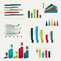 Set of business flat d design graph infographics charts Stock Images