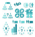 Set business icons management and human resources illustration Stock Photos