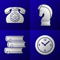 Set of business icons old telephone strategy horse pile of books and time clock on blue background Stock Photos
