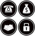 Set business objects for banking black icons Royalty Free Stock Image