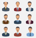 Set business people front portrait of males isolated on white b illustration background Royalty Free Stock Photography
