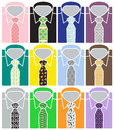 Set of business shirts and colorful ties assorted men s with pattern in many different patterns Stock Image