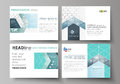 Set of business templates for presentation slides. Abstract vector layouts in flat design. Chemistry pattern, hexagonal