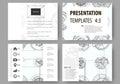 Set of business templates for presentation slides. Easy editable layouts, vector illustration. High tech design