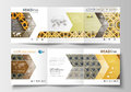 Set of business templates for tri-fold brochures. Square design. Leaflet cover, flat layout. Islamic gold pattern
