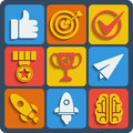 Set of 9 business web and mobile icons. Vector.