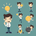 Set of businessman characters make idea eps vector format Stock Images