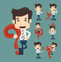 Set of businessman characters poses with question marks eps vector format Royalty Free Stock Images