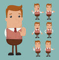 Set of businessman emotion eps format Stock Photography