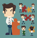 Set of businessman holding up jigsaw puzzle pieces as a solution Royalty Free Stock Images