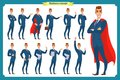 Set of businessmen presenting in various action.Happy man in business suit.People character.