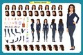 Set of Businesswoman character design.Front, side, back view animated character.Business girl. Cartoon, flat vector isolated